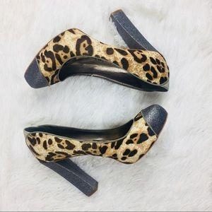 Sam Edelman animal print glitter heels 8